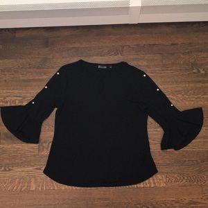 New York & Company Black Bell Sleeve Womens Shirt